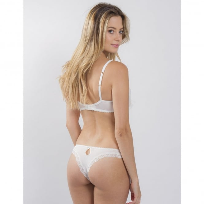 Mimi Holliday Carousel Lace Peep Thong in White/Blush