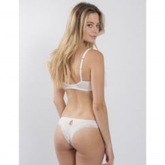 Carousel Lace Peep Thong in White/Blush
