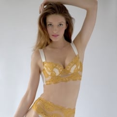 Hopscotch Longline Padded Super Plunge Gold Bra