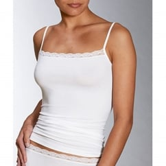 Natural Peruvian Pima Cotton Lace Trim Top