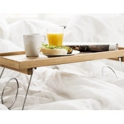 Oak Bed Table with Folding Legs