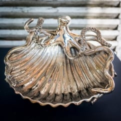 Octopus & Shell Nickel Plated Aluminium Dish