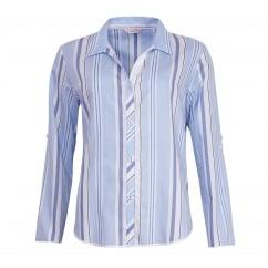00736d8609 Porcelain Doll Woven Turn Up Sleeve Blue Stripe Pyjama Top