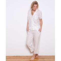 Embroidered Woven Modal Short Sleeve Pyjama Top