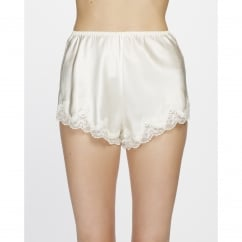 Pure Silk Scalloped Lace Edge Shorts in Cream