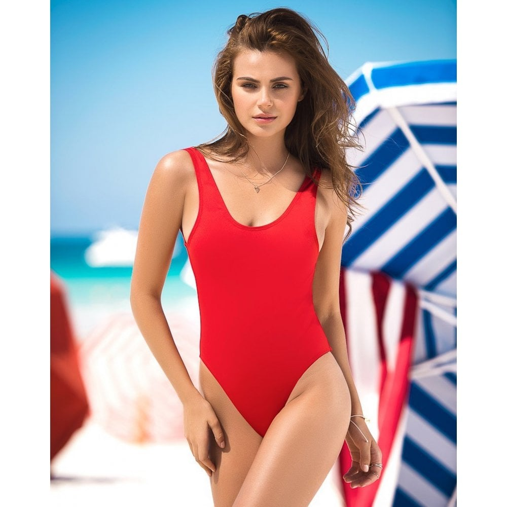 Red One Piece Swimsuit with Lace Up Panel - For Her ...