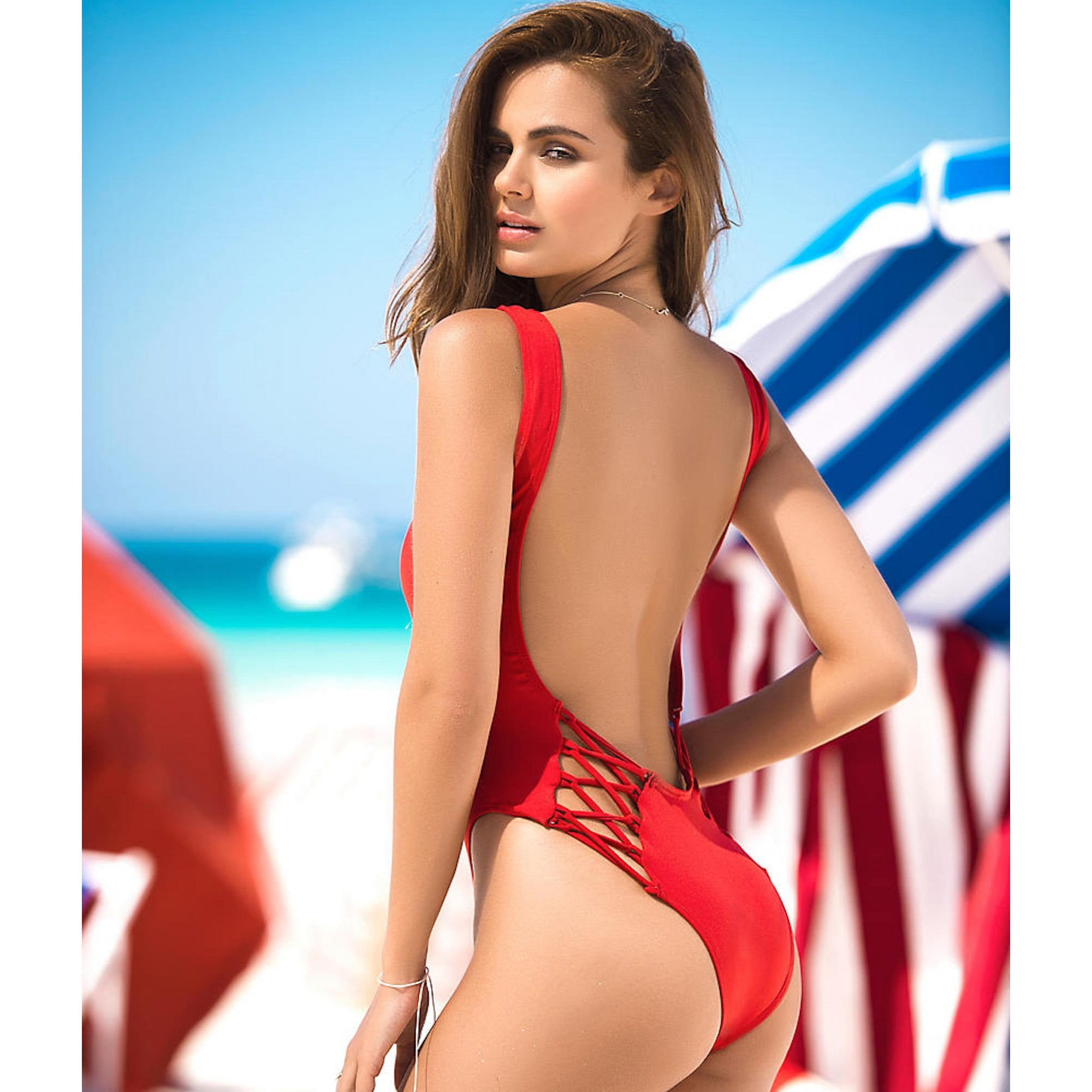 af6980d90b75 Red One Piece Swimsuit with Lace Up Panel - For Her... from The Luxe ...