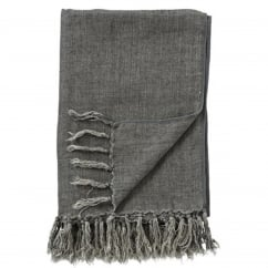 Rikke Linen Throw in Dark Cement