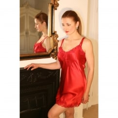 Scallop Red Lace Pure Silk Chemise