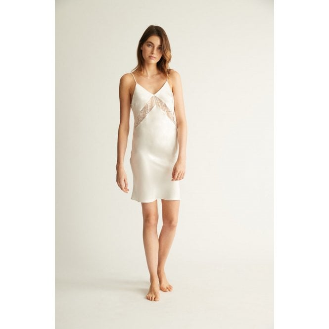 Silk & Lace Chemise in Ivory Or Slate