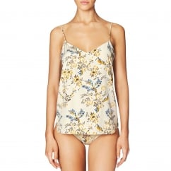 Ellie Leaping Floral Print Stretch Silk Camisole Cami with Dainty Blooms