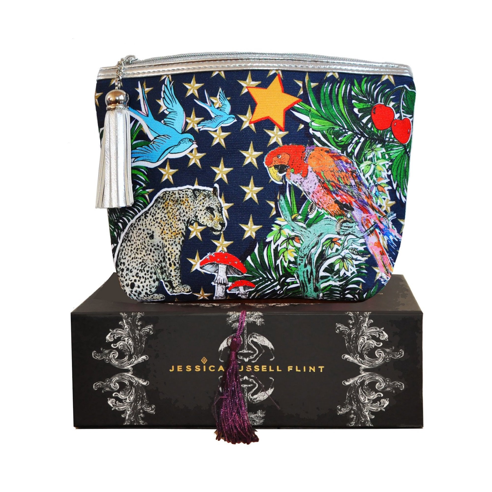 6e17007544 The Parrot Stars Waxed Canvas Classic Makeup Bag Bed Bath Home