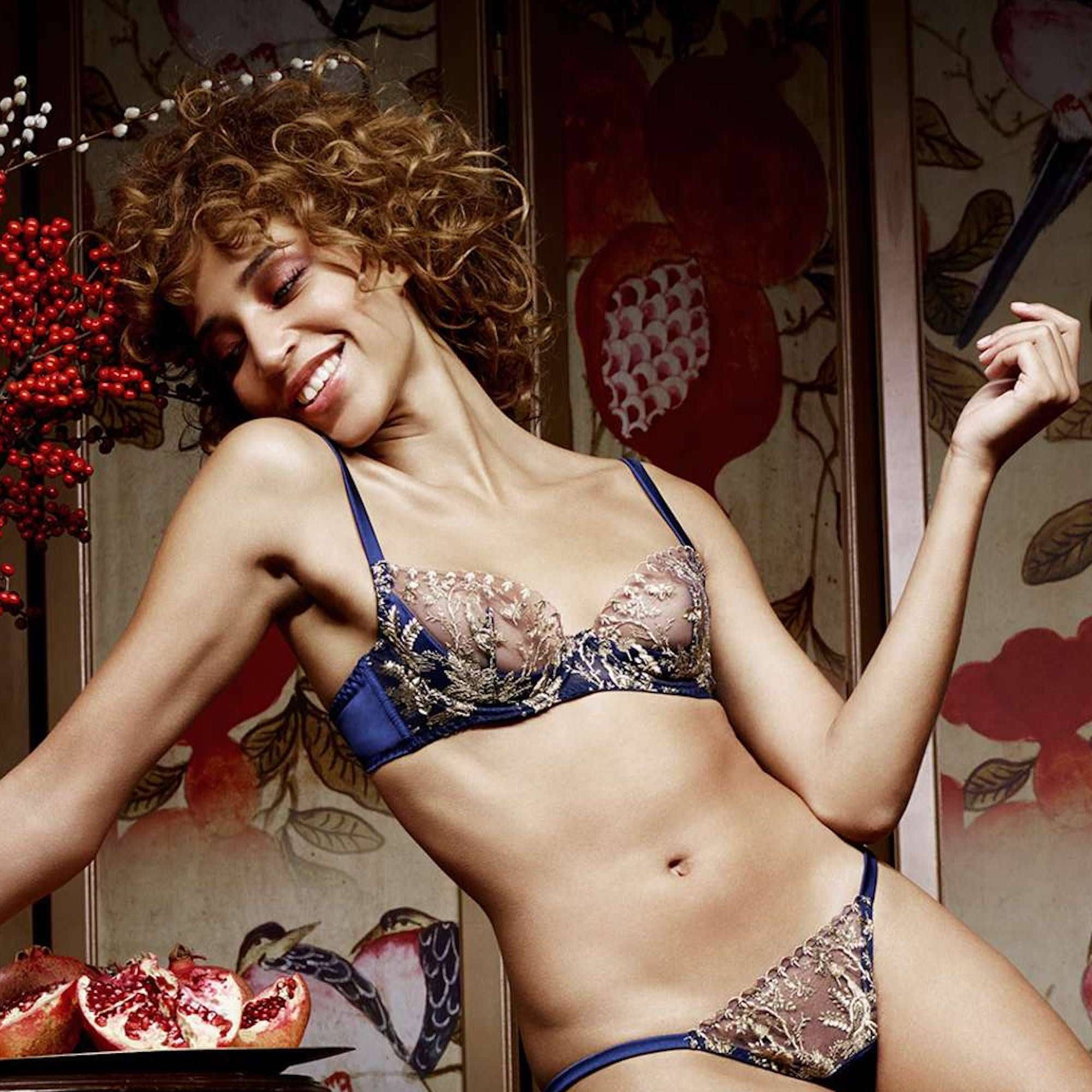 a957c7a06c The V A Golden Heron Silk Plunge Bra - For Her... from The Luxe ...
