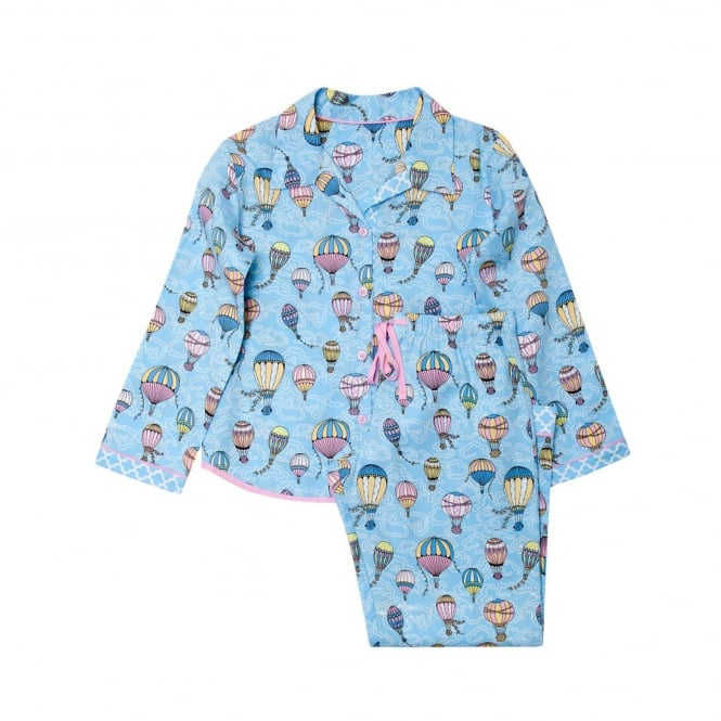 Up And Away Woven Blue Balloon Print Long Sleeve Child Pyjama