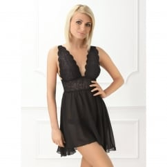Deep V Lace Detail Black Baby Doll Chemise