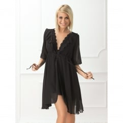 Peignoir Feminine Black Sheer Robe