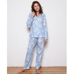 Woven Blue Long Sleeve Floral Print Pyjama Set